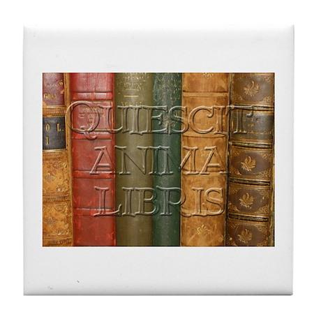 """""""Quiescit Anima Libris"""" Tile Coaster"""