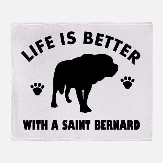 Saint bernard breed Design Throw Blanket