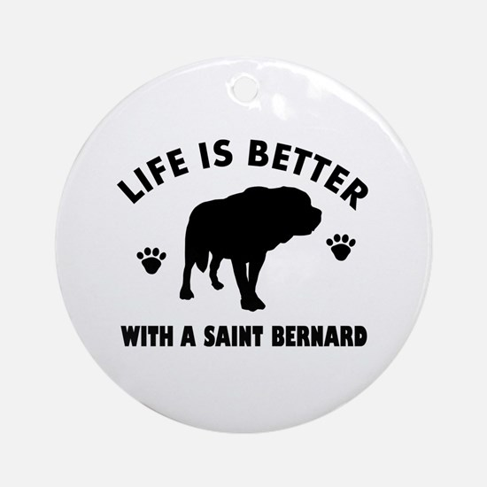 Saint bernard breed Design Ornament (Round)