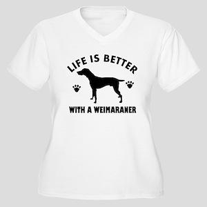 Weimaraner breed Design Women's Plus Size V-Neck T