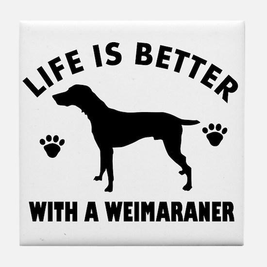 Weimaraner breed Design Tile Coaster