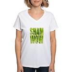 shamwow2-faded Women's V-Neck T-Shirt
