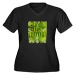 shamwow2-faded Women's Plus Size V-Neck Dark T-Shi