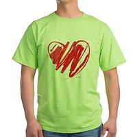 Crayon Heart Green T-Shirt