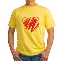 Crayon Heart Yellow T-Shirt