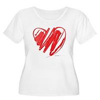 Crayon Heart Women's Plus Size Scoop Neck T-Shirt