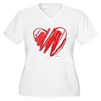 Crayon Heart Women's Plus Size V-Neck T-Shirt