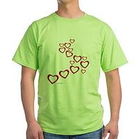 Falling Hearts Green T-Shirt