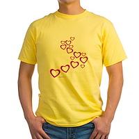 Falling Hearts Yellow T-Shirt