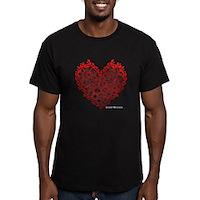 Heart Circles Men's Fitted T-Shirt (dark)