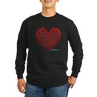 Heart Circles Long Sleeve Dark T-Shirt