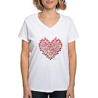 Heart Circles Women's V-Neck T-Shirt