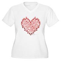Heart Circles Women's Plus Size V-Neck T-Shirt