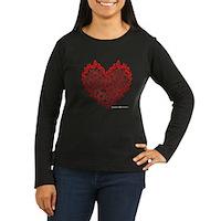 Heart Circles Women's Long Sleeve Dark T-Shirt