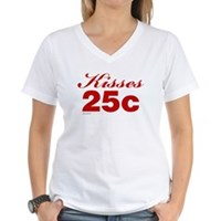 Kisses 25c Women's V-Neck T-Shirt