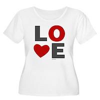 Love Heart Women's Plus Size Scoop Neck T-Shirt