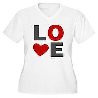 Love Heart Women's Plus Size V-Neck T-Shirt