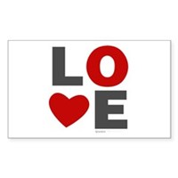 Love Heart Sticker (Rectangle)