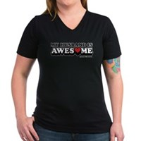 My Husband Is Awesome Women's V-Neck Dark T-Shirt