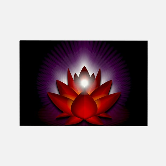 "Red ""Root"" Chakra Lotus Rectangle Magnet"