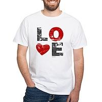 Vintage Love Heart White T-Shirt