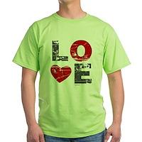Vintage Love Heart Green T-Shirt