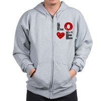 Vintage Love Heart Zip Hoodie