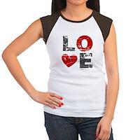 Vintage Love Heart Women's Cap Sleeve T-Shirt