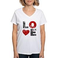 Vintage Love Heart Women's V-Neck T-Shirt