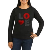 Vintage Love Heart Women's Long Sleeve Dark T-Shir