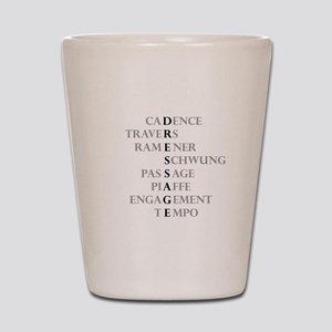 dressage language Shot Glass