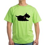 Schnauzer Silhouette Green T-Shirt