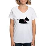 Schnauzer Silhouette Women's V-Neck T-Shirt