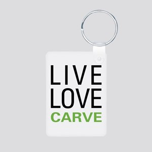 Live Love Carve Aluminum Photo Keychain