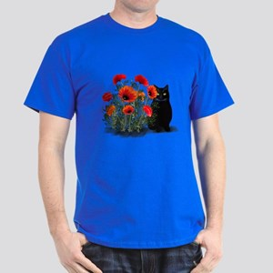 Black Cat with Poppies Dark T-Shirt