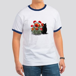 Black Cat with Poppies Ringer T