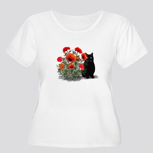 Black Cat with Poppies Women's Plus Size Scoop Nec