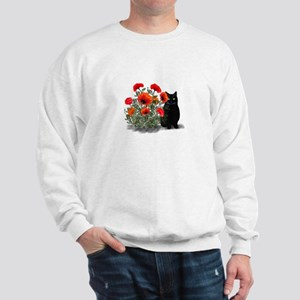 Black Cat with Poppies Sweatshirt