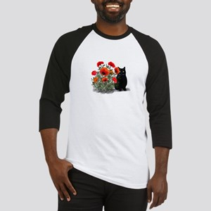 Black Cat with Poppies Baseball Jersey