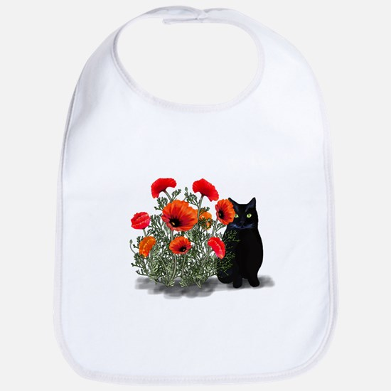 Black Cat with Poppies Bib