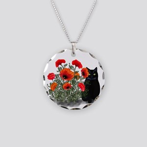 Black Cat with Poppies Necklace Circle Charm
