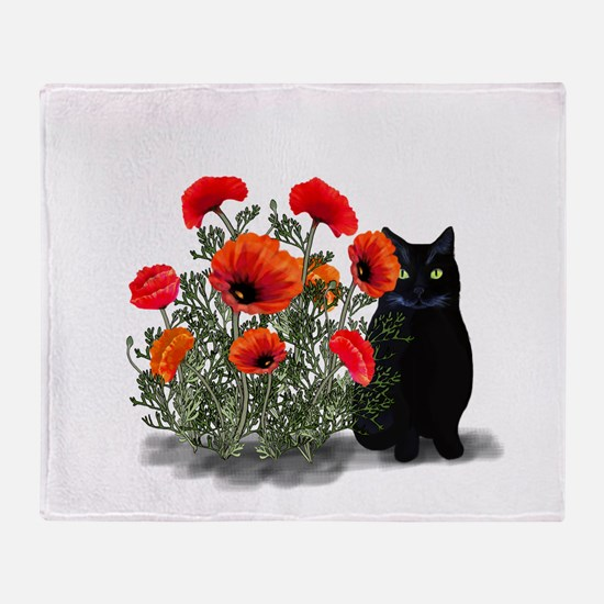 Black Cat with Poppies Throw Blanket
