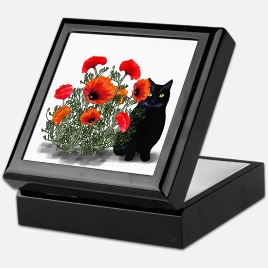 Black Cat with Poppies Keepsake Box