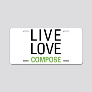 Live Love Compose Aluminum License Plate