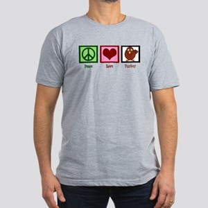 Peace Love Turkey Men's Fitted T-Shirt (dark)