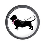 Basset Hound Breast Cancer Support Wall Clock