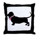 Basset Hound Breast Cancer Support Throw Pillow