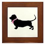 Basset Hound Breast Cancer Support Framed Tile