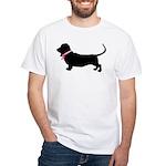 Basset Hound Breast Cancer Support White T-Shirt