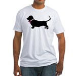 Basset Hound Breast Cancer Support Fitted T-Shirt